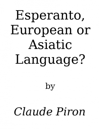 Esperanto: european or asiatic language?
