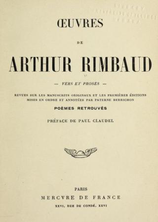 Oeuvres de Arthur Rimbaud Vers et proses by Arthur Rimbaud