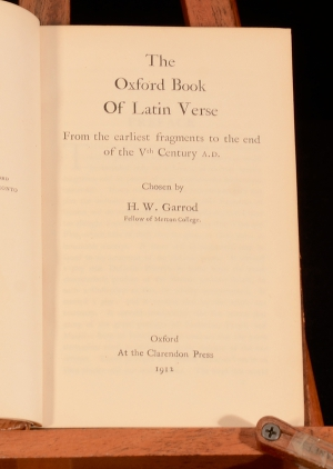 The Oxford Book of Latin Verse: From the Earliest Fragments to the End of the Vth Century A.D.