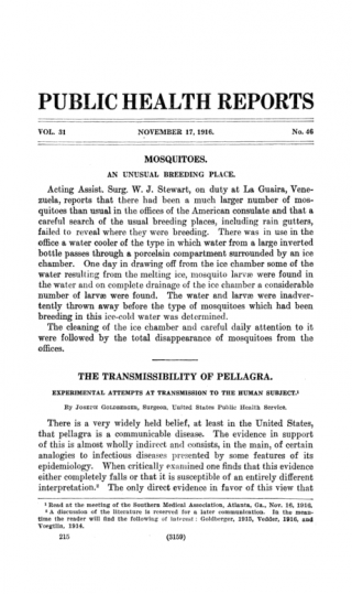 The Transmissibility of Pellagra: Experimental Attempts at Transmission to the Human Subject